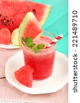 watermelon cocktail on table ... | Shutterstock . vector #221489710