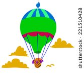 cartoon retro hot air balloon...
