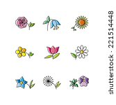 set of nine flowers isolated on ...   Shutterstock . vector #221514448