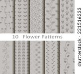 set of ten flower patterns | Shutterstock .eps vector #221516233