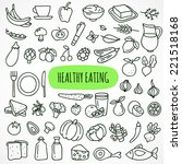 hand drawn healthy eating icons | Shutterstock .eps vector #221518168