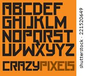 geometric pixel font | Shutterstock .eps vector #221520649