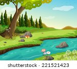 illustration of a river at the... | Shutterstock . vector #221521423