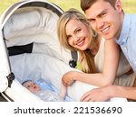 close up of happy parents with... | Shutterstock . vector #221536690