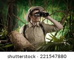 expert explorer in the jungle... | Shutterstock . vector #221547880