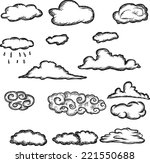 set of retro hand drawn clouds  | Shutterstock .eps vector #221550688