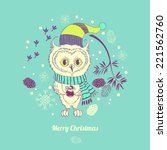 illustration with owl and cones | Shutterstock .eps vector #221562760