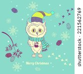 illustration with white owl and ... | Shutterstock .eps vector #221562769