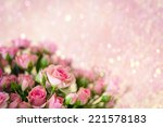 Stock photo bouquet of fresh pink roses 221578183