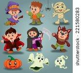 vintage halloween poster design ... | Shutterstock .eps vector #221580283