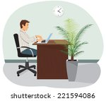 a programmer sits in the chair...   Shutterstock .eps vector #221594086
