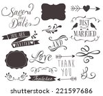 set of wedding invitation... | Shutterstock .eps vector #221597686