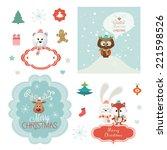 set of christmas vector... | Shutterstock .eps vector #221598526