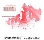 vector pink watercolor castle...   Shutterstock .eps vector #221599360