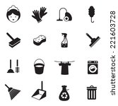 B W Icons Set   Cleaning Objects