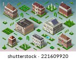 isometric building city palace... | Shutterstock . vector #221609920