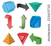 set of 3d geometric shapes and...   Shutterstock . vector #221615710
