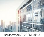 modern office building with... | Shutterstock . vector #221616010