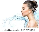 beautiful model woman with... | Shutterstock . vector #221623813
