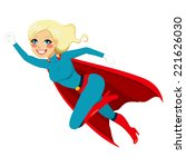 blonde super hero girl flying...