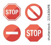 stop sign  set. flat design.... | Shutterstock .eps vector #221630698