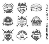 camping logo  labels and badges.... | Shutterstock .eps vector #221645410