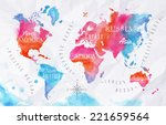 watercolor world map in pink... | Shutterstock .eps vector #221659564