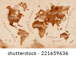 World Map In Old Style  Brown...