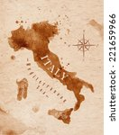 map of italy in old style ... | Shutterstock .eps vector #221659966