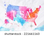 watercolor map of united states ... | Shutterstock .eps vector #221661163