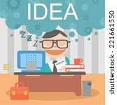 businessman sleep job idea | Shutterstock .eps vector #221661550