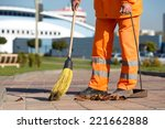 street sweeper cleaning city... | Shutterstock . vector #221662888