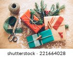 classy christmas gifts box... | Shutterstock . vector #221664028