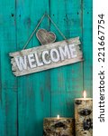 Wood Welcome Sign With Heart...