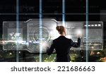 rear view of businesswoman... | Shutterstock . vector #221686663