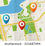 vector city map with gps icons... | Shutterstock .eps vector #221687494