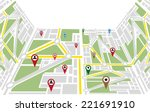 map navigation with poiners | Shutterstock .eps vector #221691910