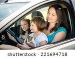 mother and children pretend... | Shutterstock . vector #221694718