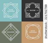 vector set of outline emblems... | Shutterstock .eps vector #221702788