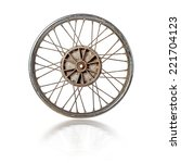 dirty old spoked motorcycle rim ... | Shutterstock . vector #221704123