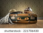 Vintage Luggage With Sunglasse...