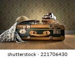 Vintage Luggage With Sunglasse...