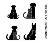 Stock vector silhouettes of pets cat dog 221706508