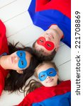 family of superheroes lying on... | Shutterstock . vector #221708869