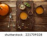 Pumpkin Soup. Autumn Dinner...