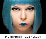 Постер, плакат: Anime girl with blue