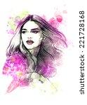 beautiful woman face.... | Shutterstock . vector #221728168