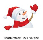 Vector  Fun Snowman Hiding By...