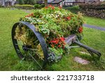An Old Wooden Cart Decorated I...