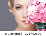 beautiful bride with fashion... | Shutterstock . vector #221743900